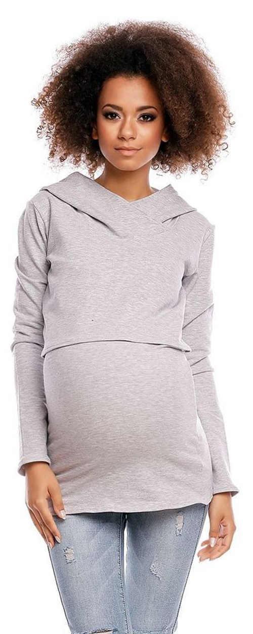 Šedé dámské těhotenské a kojící tričko