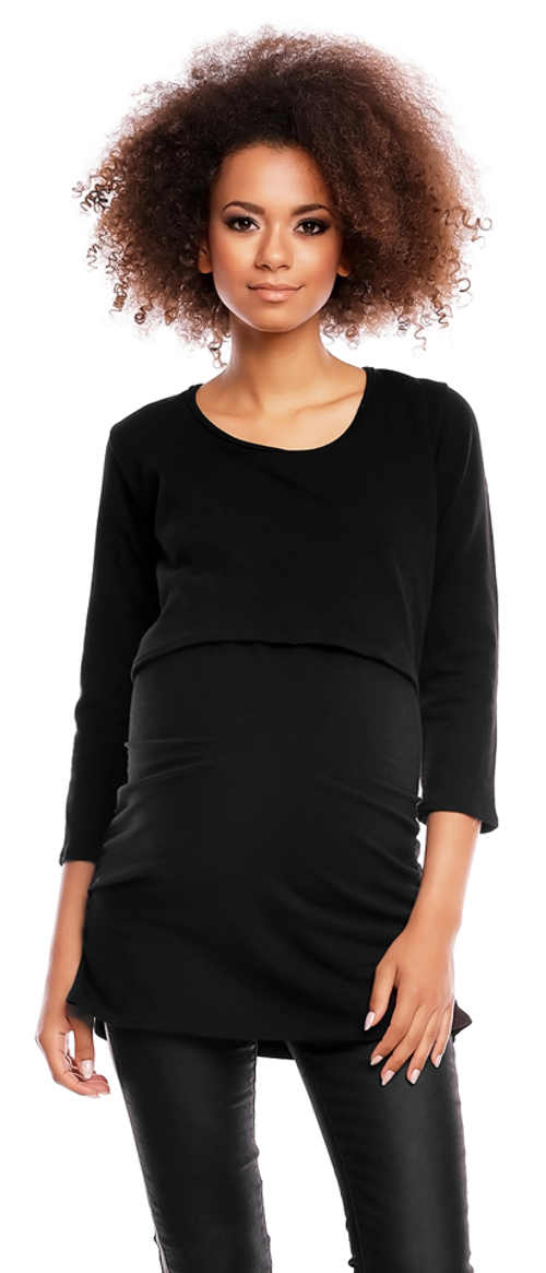 Černé těhotenské a kojící tričko PeeKaBoo