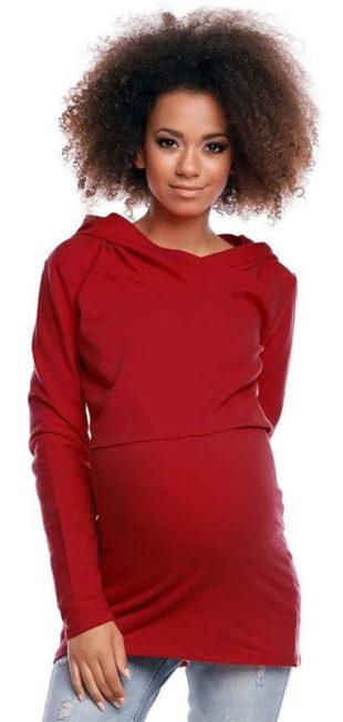 Červená těhotenská tunika uzpůsobená ke kojení