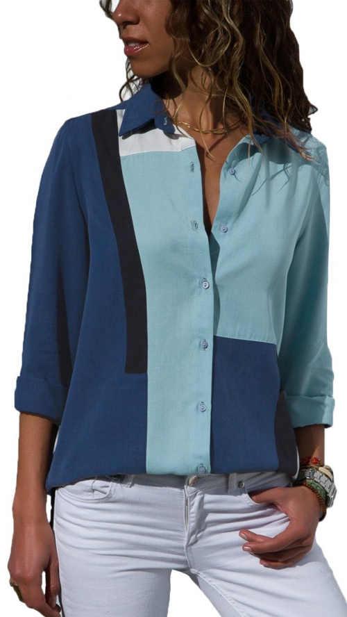 Pruhovaná modrá dámská košile