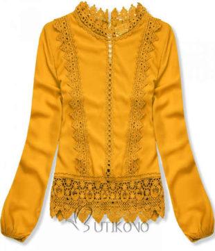 Žlutá krajková tunika