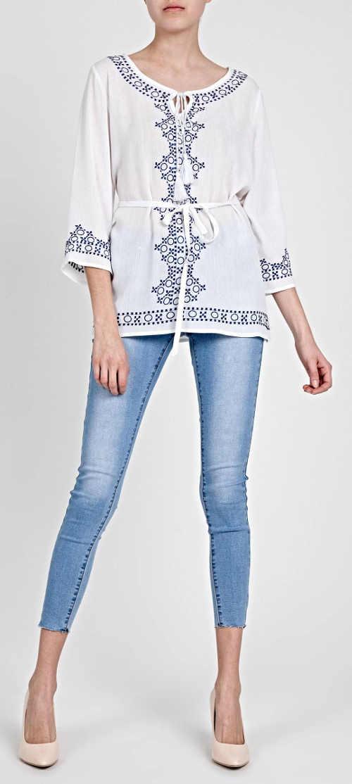 Bílo modrá dámská tunika s páskem