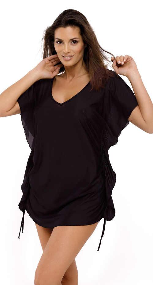 Černé šaty přes plavky se stahovacími šňůrkami na bocích