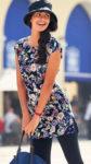 Modrá letní tunika s květinovým potiskem a páskem
