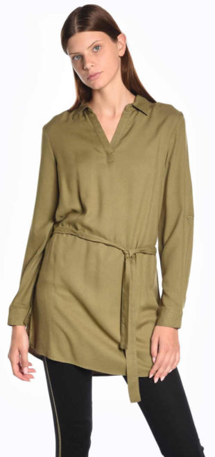Prodloužená dámská khaki tunika s páskem
