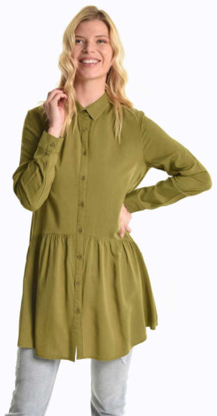 Prodloužená peplum tunika khaki barvy
