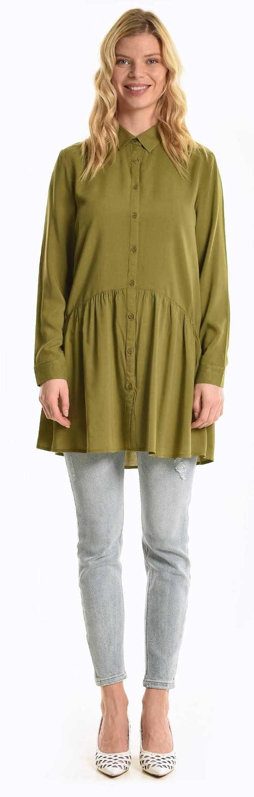 Prodloužená zelená košilová dámská tunika