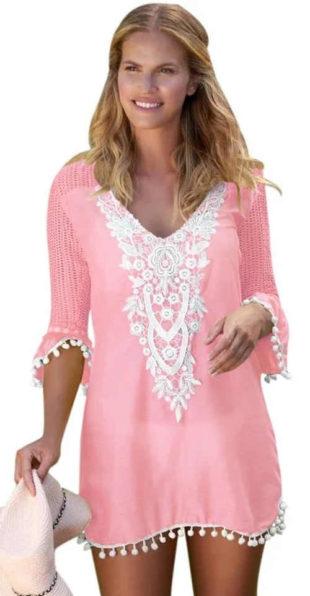 Růžová plážová tunika s bílou krajkovou výšivkou