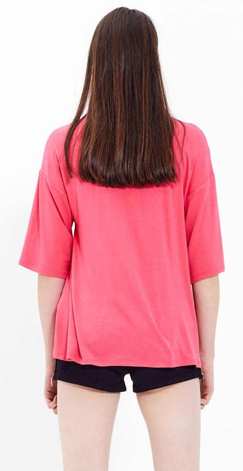 Růžové dámské tričko s tříčtvrtečním rukávem