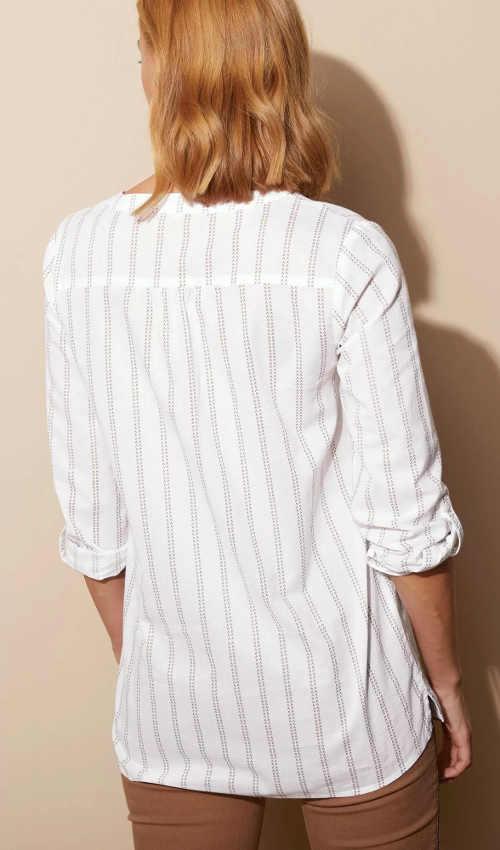 Bílá pruhovaná dámská tunika s dlouhými rukávy