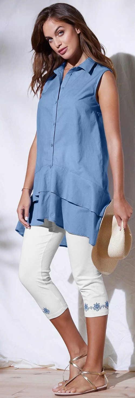 Modrá košilová dámská tunika s límečkem
