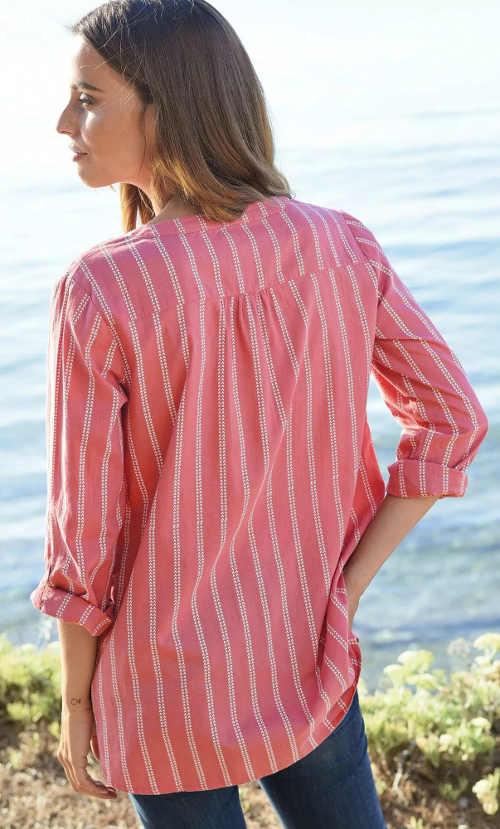 Růžová pruhovaná košilová halenka s dlouhými rukávy