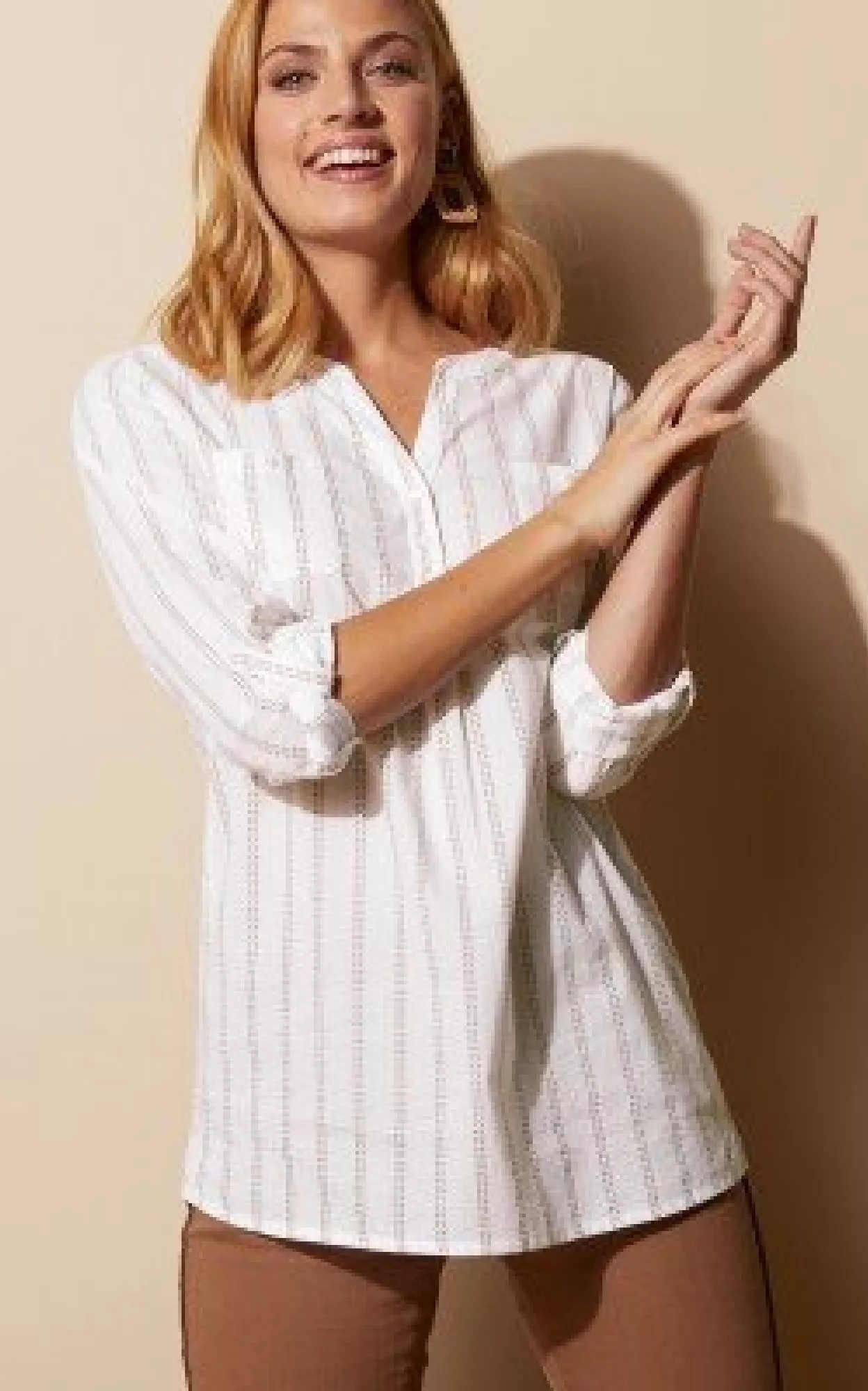 Bílá pruhovaná košilová halenka s dlouhými rukávy