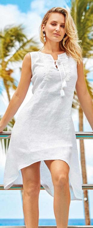 Bílé plážové šaty z lněné tkaniny
