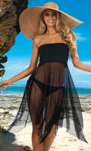 Černé plážové šaty Omena z jemné síťoviny