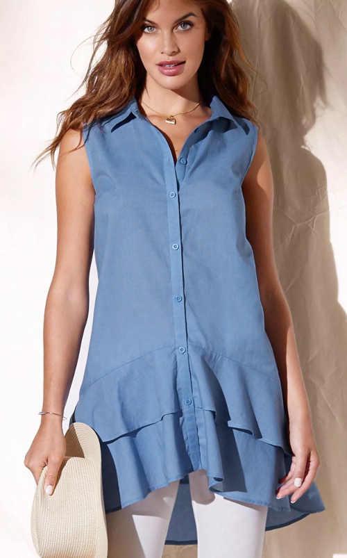 Modrá asymetrická tunika s límečkem s volány