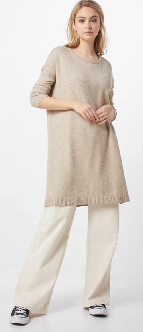 Prodloužený dámský tunikový svetr krémové barvy