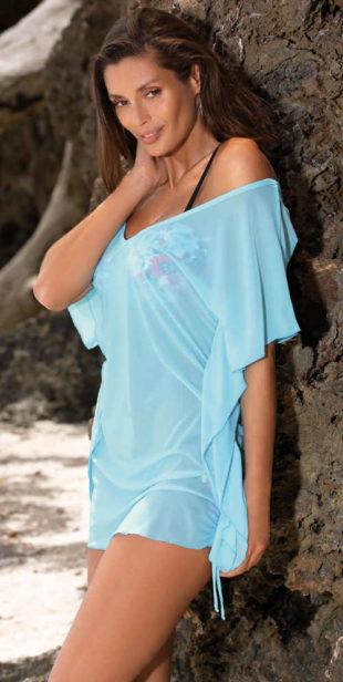Světle modrá lehounká dámská tunika přes plavky