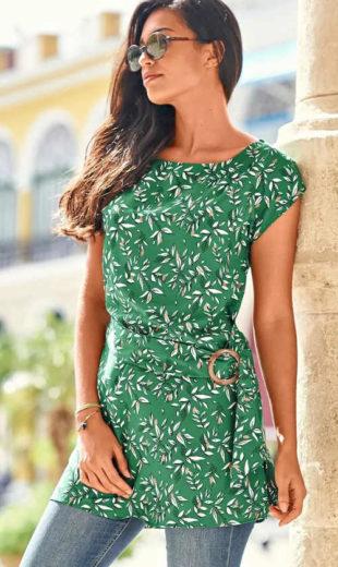 Zelená letní tunika s květinovým motivem a páskem