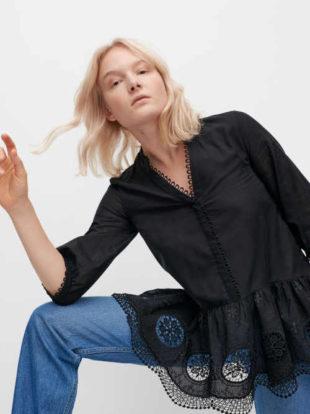 Černá moderní dámská tunika s krajkovým lemováním