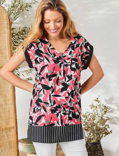 Dámská stylová tunika s potiskem a s výstřihem na zip