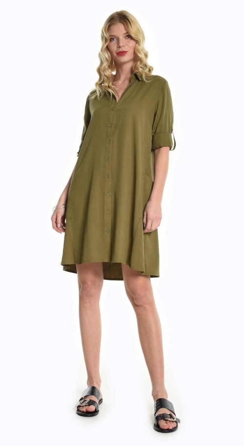 Prodloužená tunika v komfortním střihu a módní khaki barvě