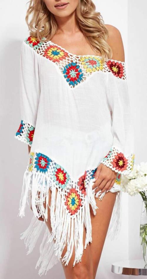 Bílá dámská tunika v etno stylu