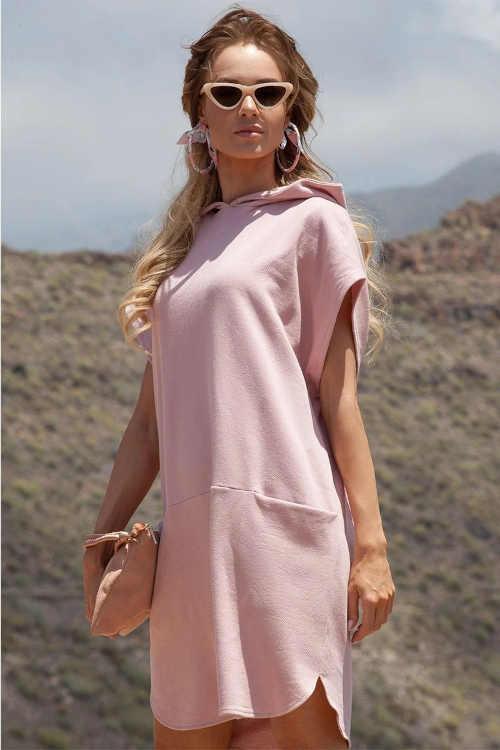 dámská růžová tunika v komfortním střihu