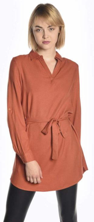 Jednobarevná oranžová prodloužená tunika s páskem
