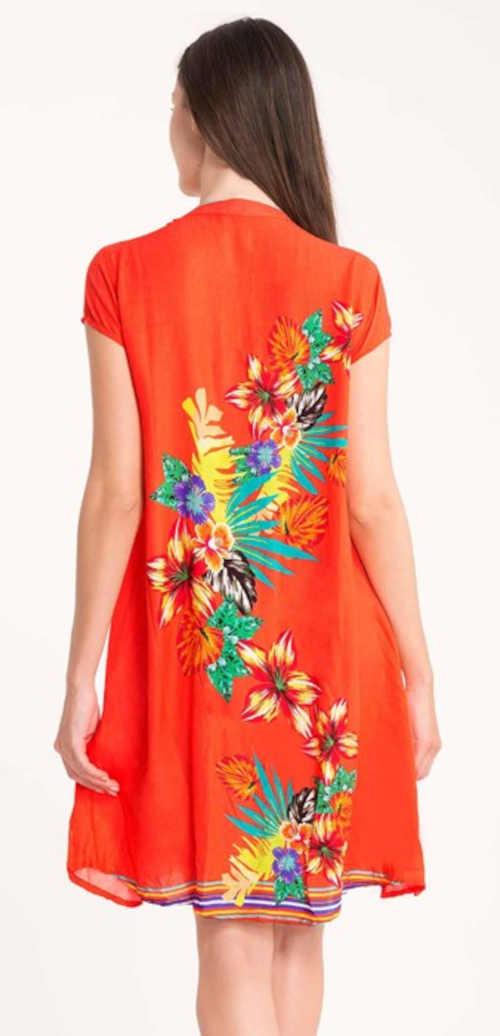 oranžové šaty s květinovým potiskem