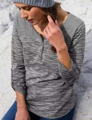Šedé tuniské tričko se žíhaným potiskem
