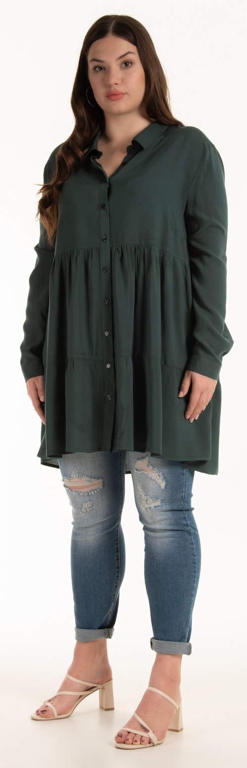 Tmavě zelená dámská tunika plus size velikost