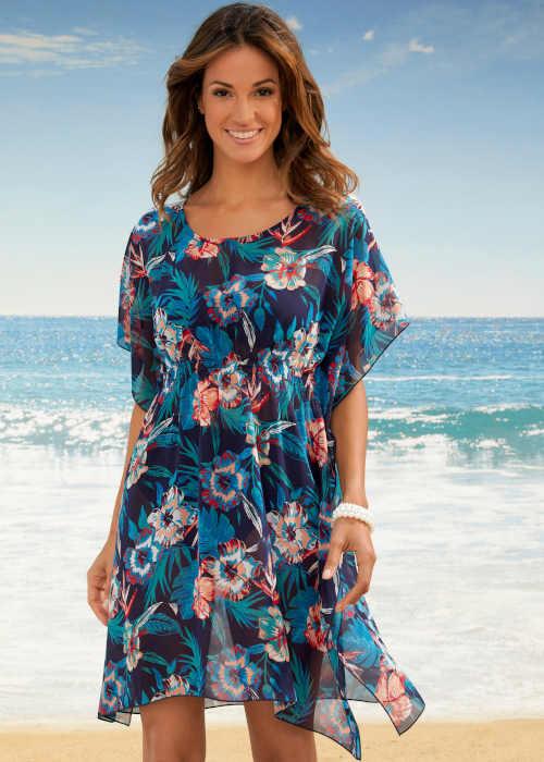 Dlouhá plážová tunika v moderním květinovém vzoru