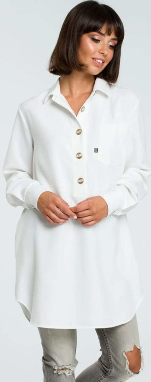 Bílá košilová tunika s knoflíky