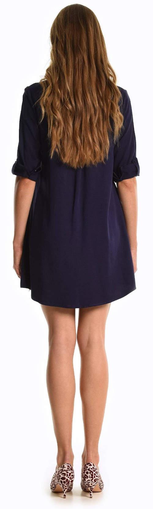 Krátké tmavě modré dámské šaty s polovičními rukávy