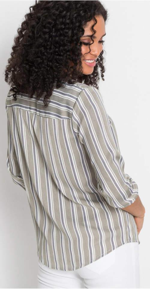 Levná pruhovaná tunika košilový styl