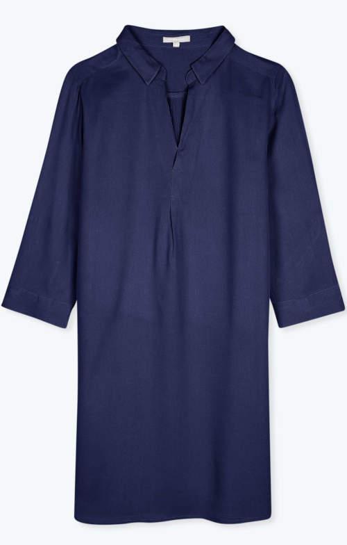 Modrá dámská tunika s límečkem