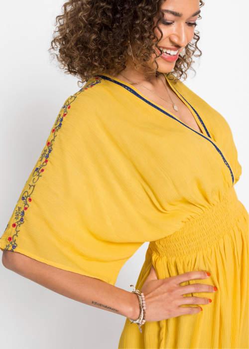 Žluté dámské šaty s širokými polovičními rukávy