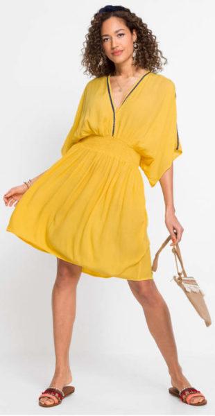 Žluté letní pohodlné tunikové šaty