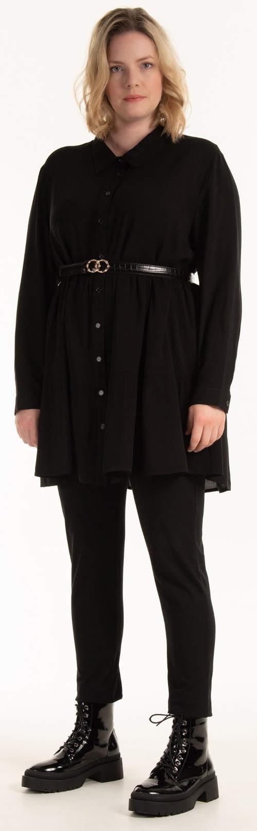 Černá plus size dámská košilová tunika