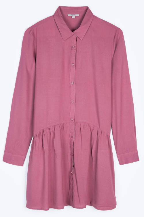 Růžová dámská tunika s košilovým límečkem
