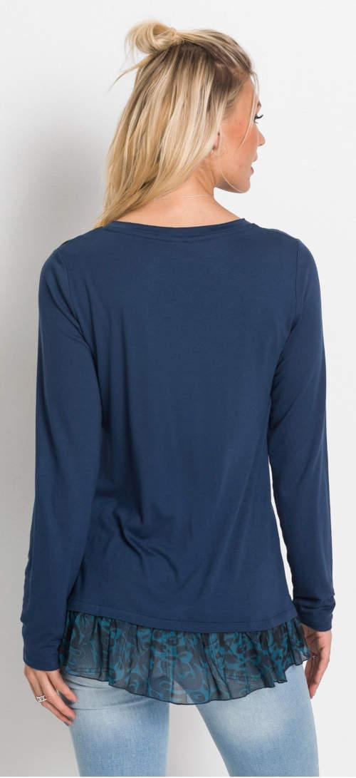 Modrá dámská tunika s volánem na spodním lemu