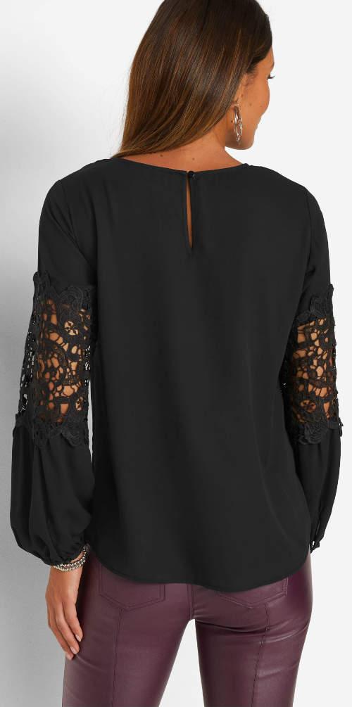 Černá dámská tunika s dlouhými krajkovými rukávy