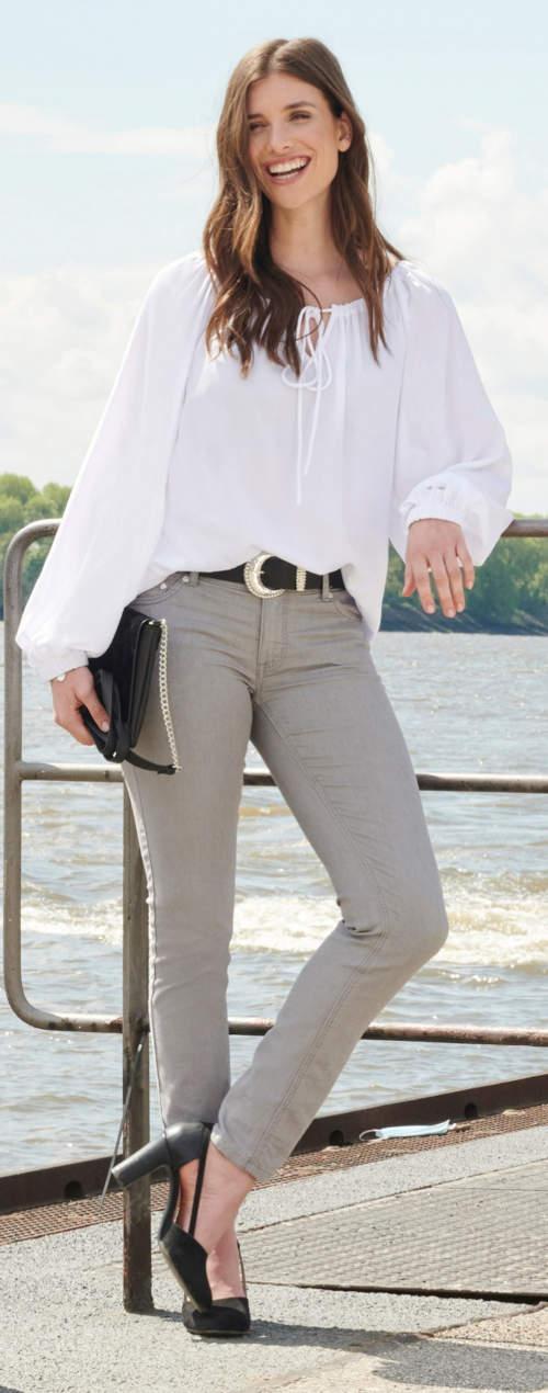 Elegantní bílá tunika s vázačkou