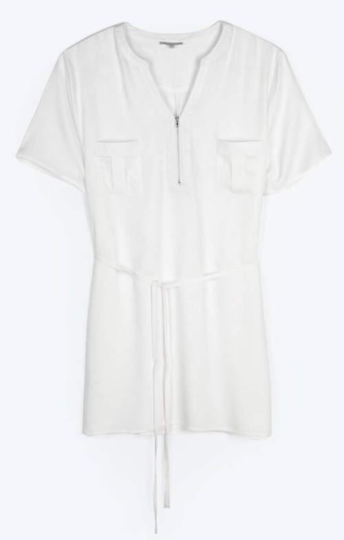 Krémové bílá tunika s náprsními kapsami